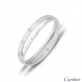 Cartier White Gold Half Diamond Love Bracelet Size 17 N6709517